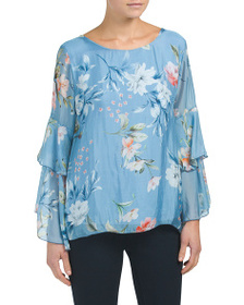 VIOLA BORGHI Made In Italy Floral Bell Sleeve Top