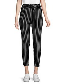 Love and Joy Striped Paperbag Cropped Pants BLACK