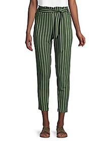 Love and Joy Striped Paperbag Cropped Pants GREEN