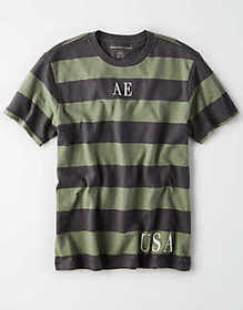 American Eagle AE Short Sleeve Striped Graphic T-S