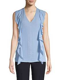 T Tahari Sleeveless Ruffled Blouse MEANDER BLUE
