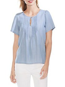 Vince Camuto Mystic Blooms Pintuck Front Blouse BA