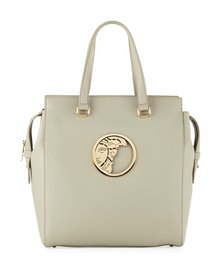 Versace Collection Pebbled Leather Tote Bag Gray