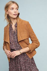 Anthropologie Bagatelle Draped Suede Jacket