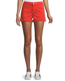J Brand Low-Rise Shorts w/ Frayed Hem