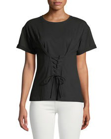 Laundry By Shelli Segal Corset-Front Short-Sleeve