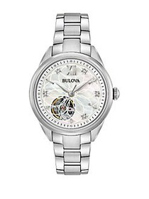 Bulova Automatic Openwork Dial Stainless Steel & D