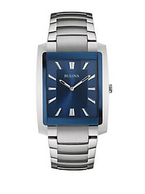 Bulova Rectangular Blue Dial & Stainless Steel Lin