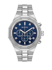 Bulova Diamond Chronograph Stainless Steel Bracele