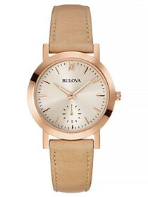 Bulova Classic Rose-Goldtone & Sand Leather Strap