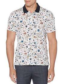 Perry Ellis Short-Sleeve Floral Polo Shirt BRIGHT