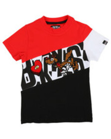 Arcade Styles color block tee w/ chenille accents