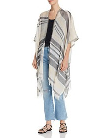 Echo - Frayed Striped Ruana