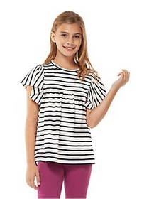 Dex Girl's Ruffled Striped Top WHITE