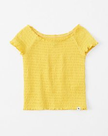 smocked off-the-shoulder top, yellow