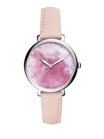 Fossil Jacqueline Leather-Strap Watch PINK