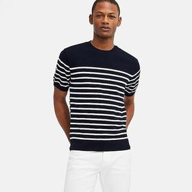 MEN WASHABLE STRIPED CREW NECK SHORT-SLEEVE SWEATE