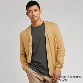 MEN LINEN BLENDED V-NECK LONG-SLEEVE CARDIGAN