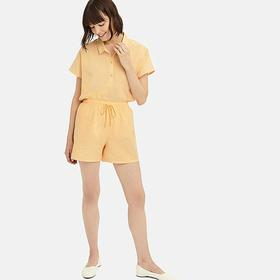 WOMEN COTTON LINEN SHORT-SLEEVE PAJAMAS