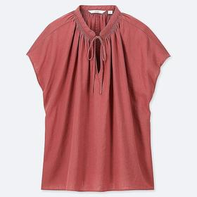 WOMEN LINEN BLEND SHORT-SLEEVE BLOUSE