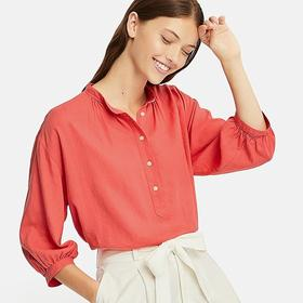 WOMEN LINEN BLEND STAND COLLAR 3/4 SLEEVE BLOUSE