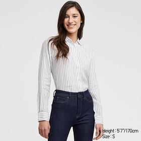 WOMEN PREMIUM LINEN STRIPED LONG-SLEEVE SHIRT