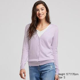 WOMEN UV CUT SUPIMA® COTTON V-NECK CARDIGAN