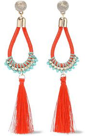 KENNETH JAY LANE Gold-tone, cord, bead and tassel