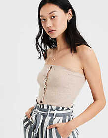 American Eagle AE Plush Button Front Tube Top