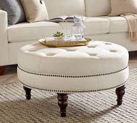 Pottery Barn Martin Upholstered Round Ottoman