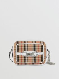 Burberry The 1983 Check Link Camera Bag in Chalk W