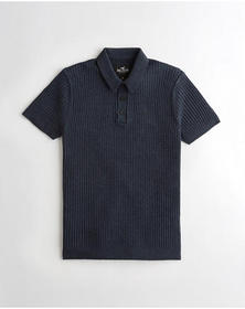 Hollister Ribbed Sweater Polo, NAVY