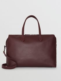 Burberry Soft Leather Holdall in Oxblood