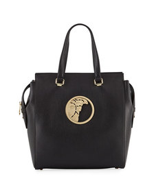 Versace Collection Pebbled Leather Tote Bag Black