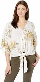 Tribal Printed Crepe Tie Front V-Neck Blouse