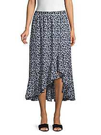 Max Studio Ruffle High-Low Floral Midi Skirt NAVY