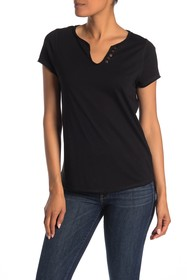 In Cashmere Short Sleeve Faux Henley Top