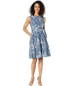Tahari by ASL Sleeveless Embroidered Floral Dot Dr