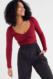 UO Cynthia Ruched Long Sleeve Top