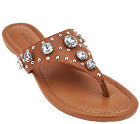 """""""As Is"""" Marc Fisher Thong Sandals w/ Jewel Accents"""
