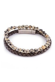 Marz Woven Leather & Beaded Stone Band Set - Set o