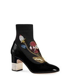 Gucci - Women's Candy Embroidered Knit & Patent Le