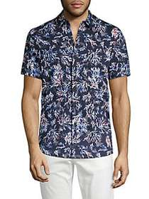 Michael Kors Short Sleeve Printed Button Front Shi