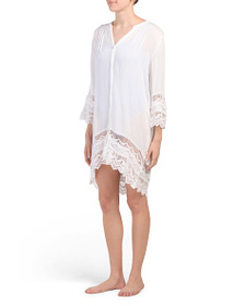 BLUE ISLAND Button Down Lace Hem Swim Cover-up