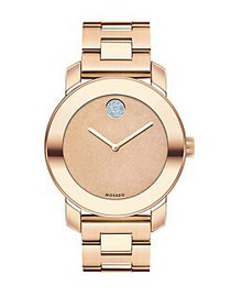 Movado BOLD Glitter & Rose Goldtone IP Stainless S