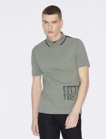 Armani TWO-COLOUR POLO WITH LETTERING