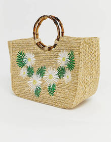 Skinnydip Kaia straw tote bag with bamboo handle