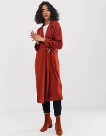 ASOS DESIGN duster coat with faux shell trim detai