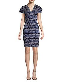Kensie Tiered-Sleeve Sheath Dress NAVY
