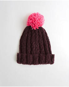 Hollister Pom Shine Ribbed Beanie, Burgundy